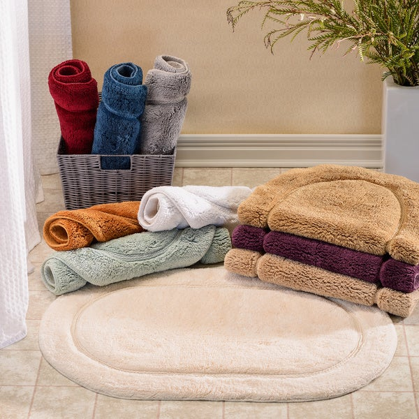 Superior Collection Luxurious Cotton Non Skid Oval Bath Rug 2 Piece Set