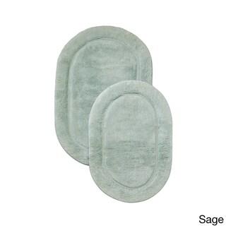 Superior Collection Luxurious Cotton Non-skid Oval Bath Rug 2-piece Set (Option: Sage)