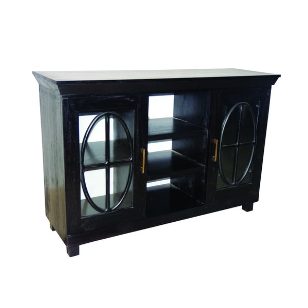 Shop Black Media Cabinet Free Shipping Today Overstock 9378061