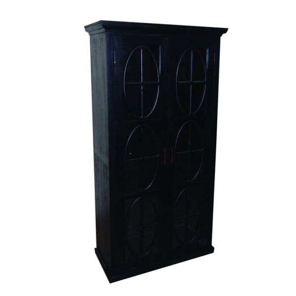 Black Tall Cabinet With Gl Doors