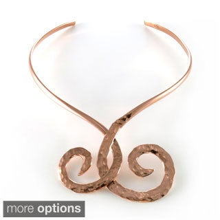 Handmade Hammered Copper Double Swirls Choker Necklace (Mexico)
