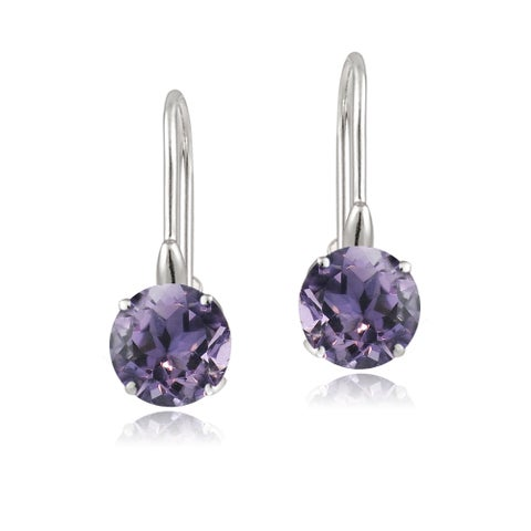 Glitzy Rocks Sterling Silver Round Gemstone or Cubic Zirconia Birthstone Earrings