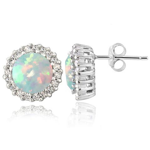 Glitzy Rocks Sterling Silver Gemstone or Cubic Zirconia Birthstone Round Stud Earrings