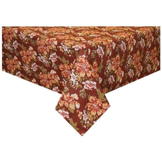 Handmade Rust/ Orange Floral Tablecloth (India)