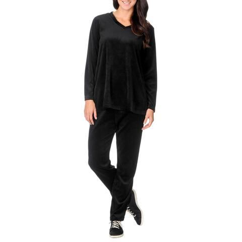 La Cera Women's Black 2-piece Warm-up Set