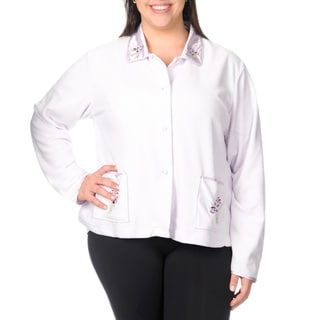 La Cera Women's Plus Size Iris Embroidered Button-front Night Shirt