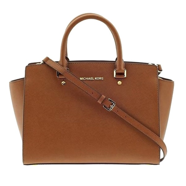 cff3dfa7fbcc Michael Kors Selma Luggage Brown Saffiano Leather Large Top-Zip Satchel  Handbag