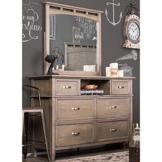 Furniture of America Seashore 2-Piece Weathered Oak Dresser and Mirror Set