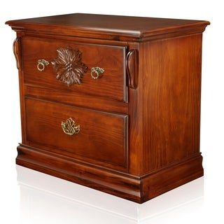 Furniture of America Weston Glossy Dark Pine 2-Drawer Nightstand