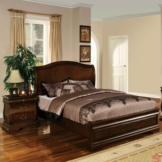 Furniture of America Rowland Transitional Style 2-Piece Bed with Nightstand Set