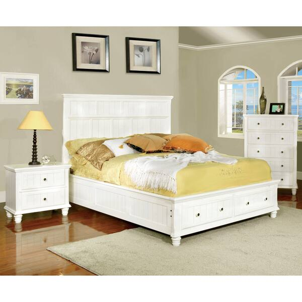 Furniture of America Delia Transitional 2-Piece White Cottage Style Bed  with Nightstand Set