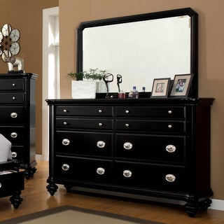 Furniture of America Selinea Modern Black 2-Piece Dresser and Mirror Set