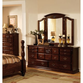 Furniture of America Weston Traditional 2-Piece Glossy Dark Pine Dresser and Mirror Set