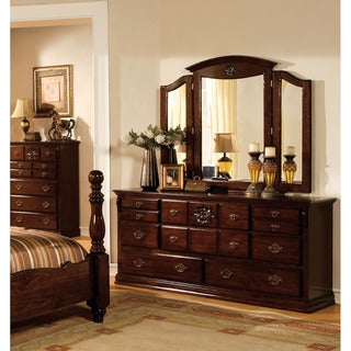 Furniture of America Weston Traditional 2-Piece Glossy Dark Pine Dresser and Mirror Set - Brown