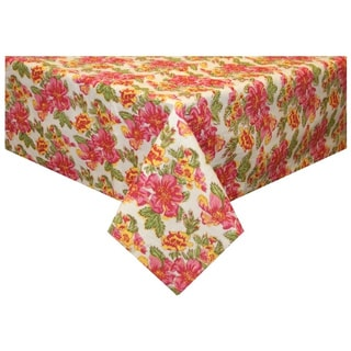 Handmade Pink/ Yellow Floral Tablecloth (India)