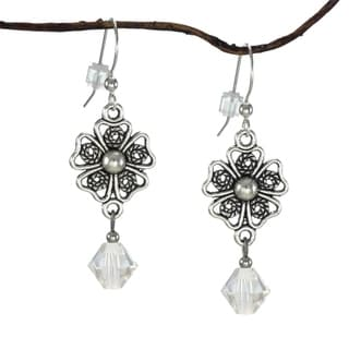 Jewelry by Dawn Pewter Filigree Teardrop Moonlight Crystal Dangle Earrings