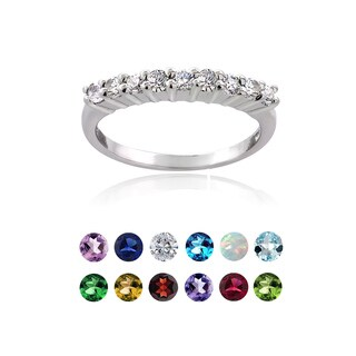 Glitzy Rocks Sterling Silver Gemstone Or Cubic Zirconia Birthstone Half Eternity Band Ring (More options available)