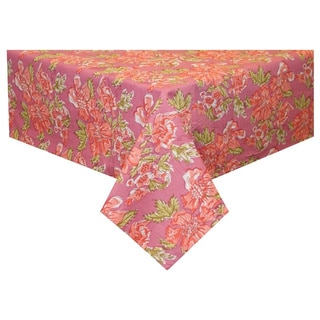 Handmade Pink Floral Tablecloth (India)