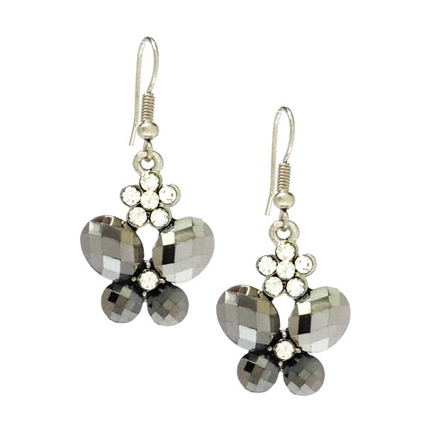 Bleek2Sheek Hematite and Daisy Rhinestone Crystal Butterfly Earrings - grey