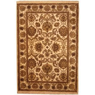 Herat Oriental Indo Hand-knotted Mahal Beige/ Brown Wool Rug (6'2 x 9')