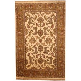 Herat Oriental Indo Hand-knotted Mahal Ivory/ Forest Green Wool Rug (6' x 9'2)