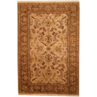 Herat Oriental Indo Hand-knotted Mahal Tan/ Green Wool Rug (6'1 x 9')