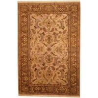 Herat Oriental Indo Hand-knotted Mahal Tan/ Green Wool Rug (6'1 x 9') - 6'1 x 9'
