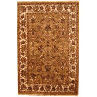 Herat Oriental Indo Hand-knotted Mahal Brown/ Grey Wool Rug (6' x 9')