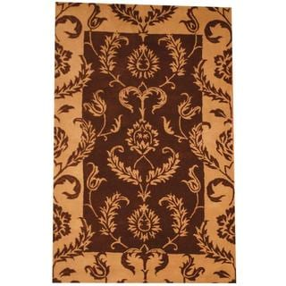 Herat Oriental Indo Hand-tufted Mahal Brown/ Tan Wool Rug (5' x 7'8)