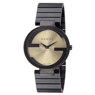 Gucci Women's 'Grammy Awards' Yellow Dial Black Stainless Steel Special Edition Watch