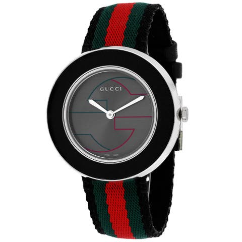 Gucci Women's YA129444 'U Play' Anthracite Dial Green-Red-Green Web Strap Watch
