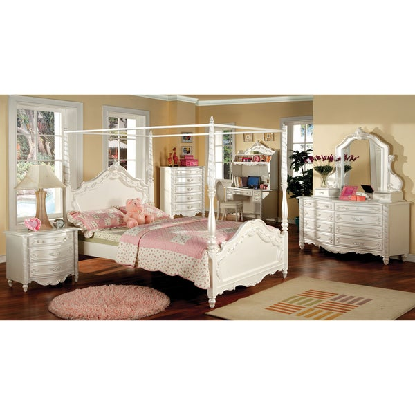 Shop Furniture Of America Talia Pearl White Wood Veneer Glass 4 Piece Canopy Bed Set Free