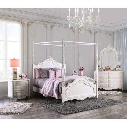 Furniture of America Talia Pearl White Wood/Veneer/Glass 4-piece Canopy Bed Set