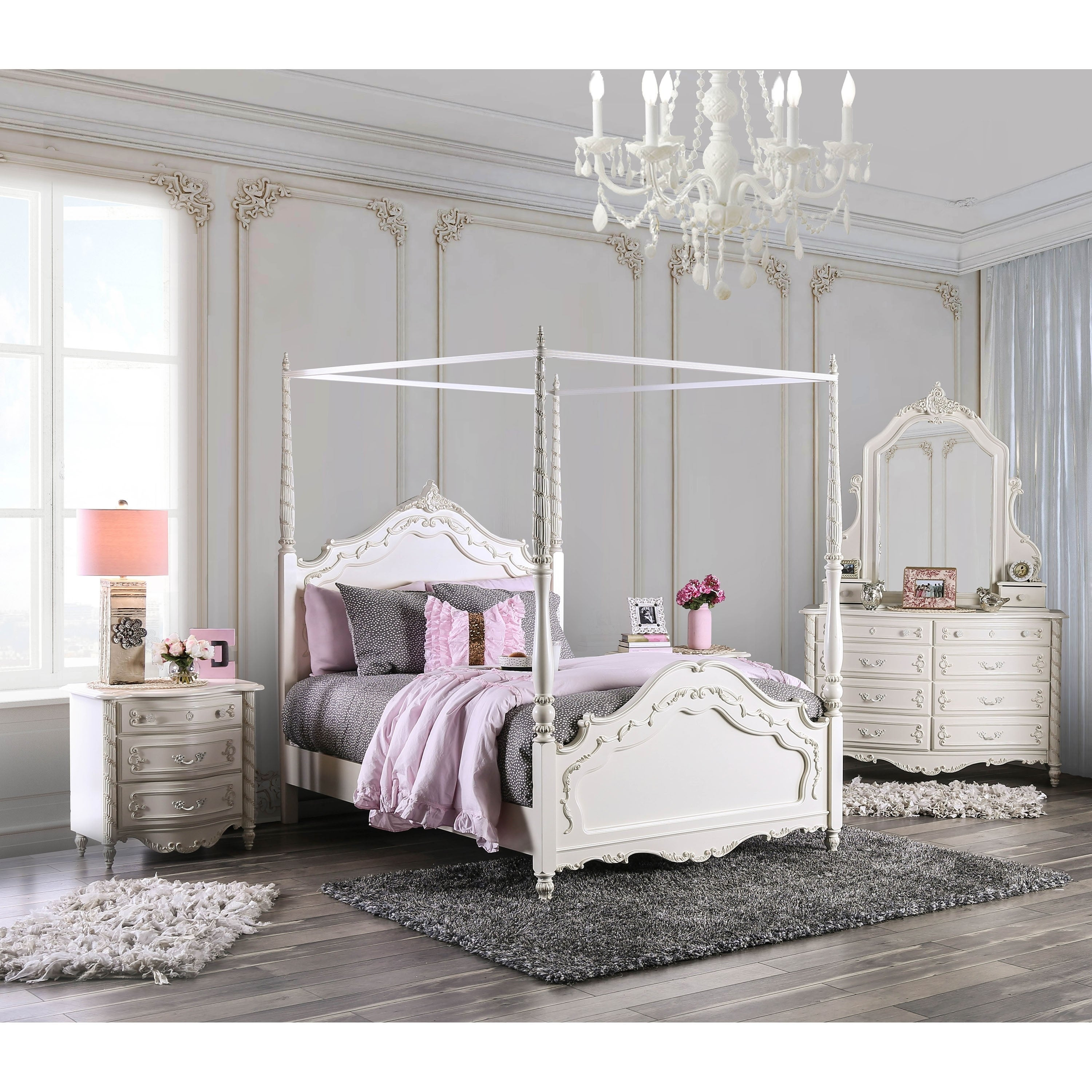 Furniture Of America Imer Transitional White 4 Piece Canopy Bed Set Overstock 9378467