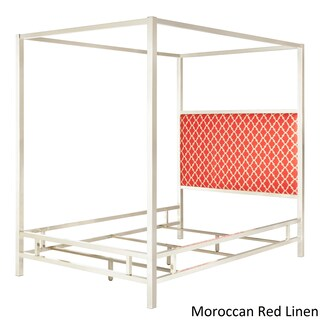 Solivita Queen-size Chrome Metal Poster Bed by iNSPIRE Q Bold (Option: Moroccan Red Linen)