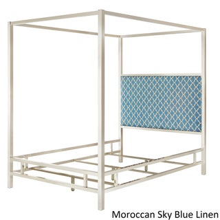 Solivita Queen-size Chrome Metal Poster Bed by iNSPIRE Q Bold (Option: Moroccan Sky Blue Linen)