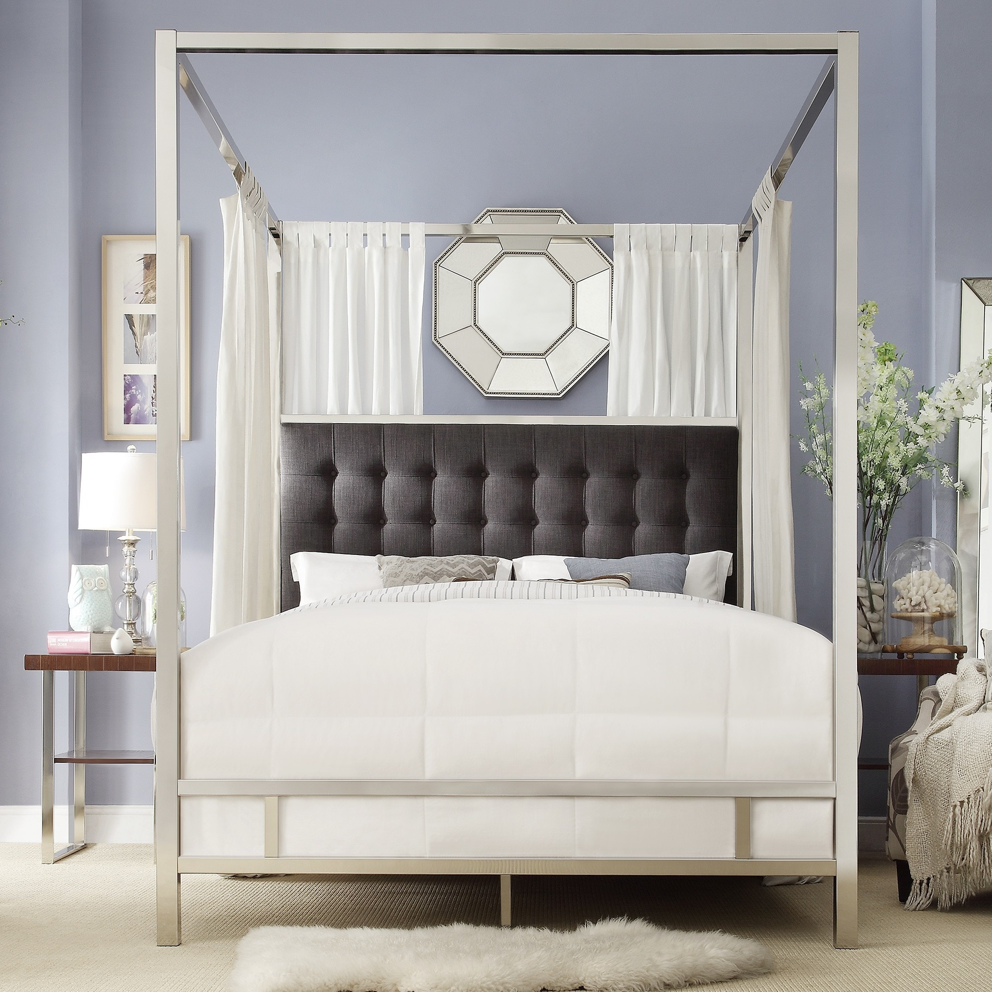 Solivita-Full-size-Canopy-Chrome-Metal-Poster-Bed-