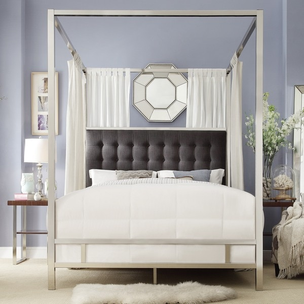 solivita fullsize canopy chrome metal poster bed by inspire q bold free shipping today