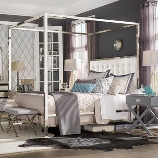 chrome bedroom furniture. Solivita Full-size Canopy Chrome Metal Poster Bed By INSPIRE Q Bold Bedroom Furniture C