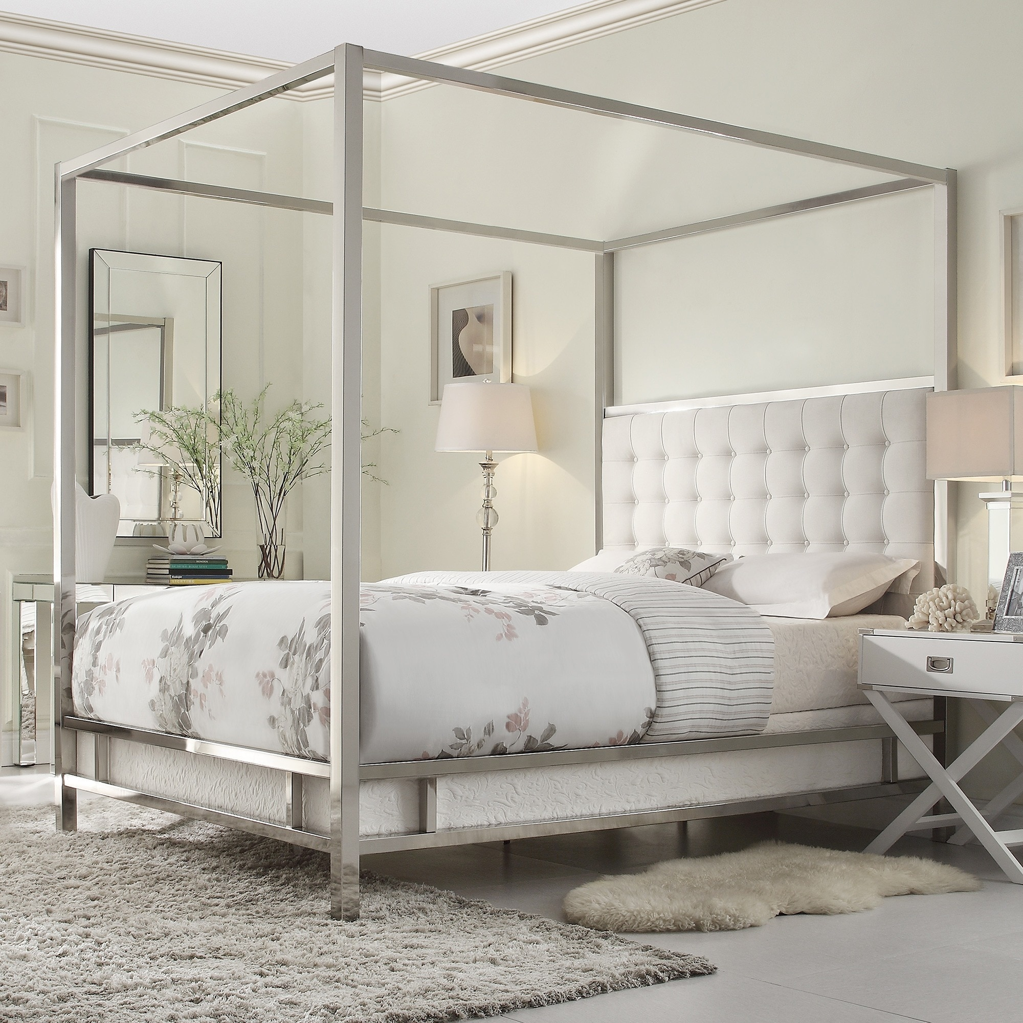 2a717594f3b1 Shop Solivita King-size Canopy Chrome Metal Poster Bed by iNSPIRE Q Bold -  On Sale - Free Shipping Today - Overstock - 9378478