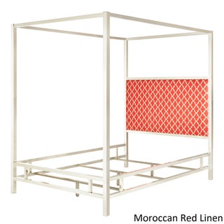 Solivita King-size Canopy Chrome Metal Poster Bed by iNSPIRE Q Bold (Option: Moroccan Red Linen)