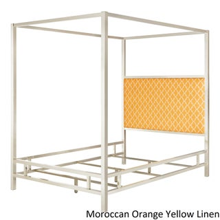 Solivita King-size Canopy Chrome Metal Poster Bed by iNSPIRE Q Bold (Option: Moroccan Orange Yellow Linen)