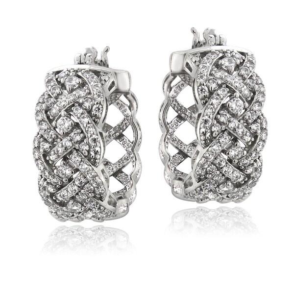 ICZ Stonez Sterling Silver 1 1/2ct TGW Cubic Zirconia Woven Hoop Earrings