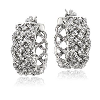 ICZ Stonez Sterling Silver 1 1/2ct TGW Cubic Zirconia Woven Hoop Earrings