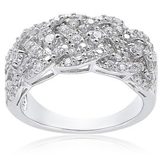 Link to Icz Stonez Sterling Silver 3/4ct TGW Cubic Zirconia Woven Band Ring Similar Items in Rings