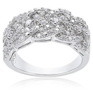 icz stonez sterling silver 34ct tgw cubic zirconia woven band ring - Cubic Zirconia Wedding Rings That Look Real