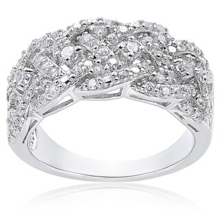 Icz Stonez Sterling Silver 3/4ct TGW Cubic Zirconia Braided Ring (5 options available)