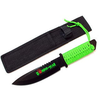 10.5-inch Zombie War Hunting Knife Green Cord Wrapped Handle with Sheath