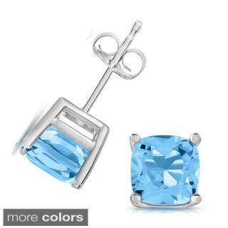 14k White Gold Cushion-cut Gemstone Stud Earrings