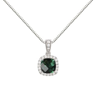 Sterling Silver Checkerboard Cushion Lab-created Emerald and Lab-created White Sapphire Halo Pendant